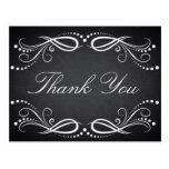 Chalkboard white Floral Vintage Rustic Thank You Postcard