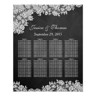 Chalkboard & White Lace Wedding Seating Chart Poster