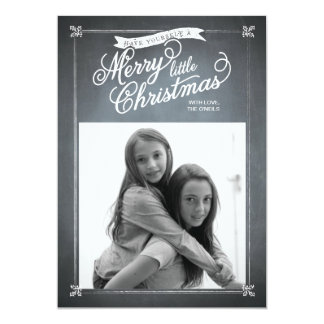 Chalkboard White Mistletoe Holiday Photo Card