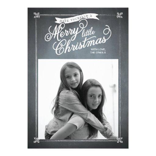 Chalkboard White Mistletoe Holiday Photo Card