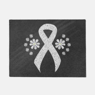 Chalkboard White Ribbon Doormat