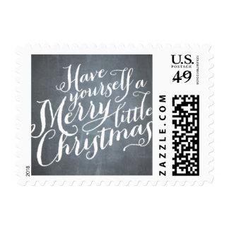 Chalkboard White Script Postage Stamp
