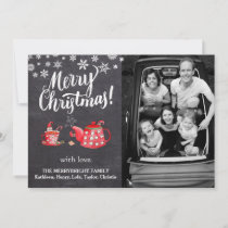 Chalkboard white Script Vintage Elegant Watercolor Holiday Card