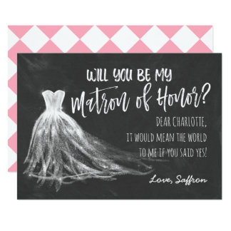 Chalkboard Will You Be My Matron of Honor Card