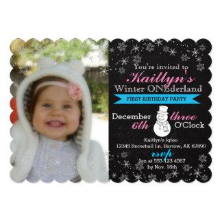"Chalkboard Winter Onederland Invitation, 5"" x 7"" 5x7 Paper Invitation Card"