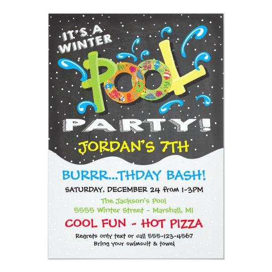 chalkboard winter pool party invitation