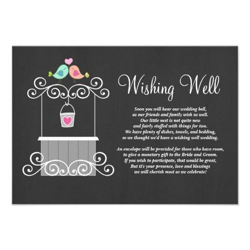 Chalkboard Wishing Well Lovebirds Personalized Announcements