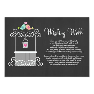 "Chalkboard Wishing Well Lovebirds 3.5"" X 5"" Invitation Card"