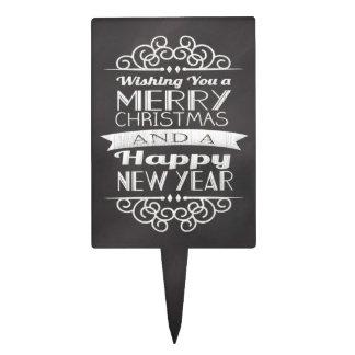 Chalkboard Wishing You Merry Christmas Cake Pick