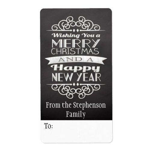Chalkboard Wishing You Merry Christmas Gift Tag Custom Shipping Label