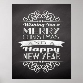 Chalkboard Wishing You Merry Christmas Poster