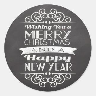 Chalkboard Wishing You Merry Christmas Round Round Stickers