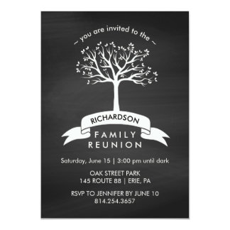 Chalkboard with Banner and Tree Family Reunion Card