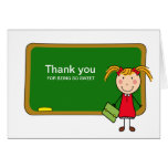Chalkboard with Girl Thank You Notecard Card