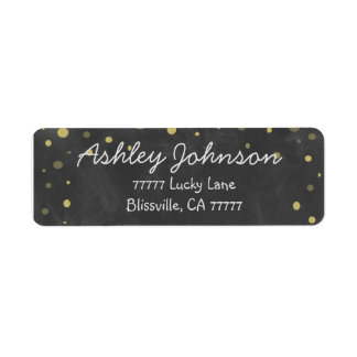 Chalkboard with Gold Polka Dots Label