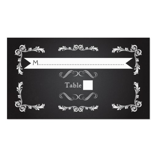 Chalkboard with vintage frame wedding place card business cards