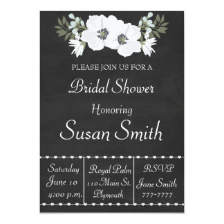 Chalkboard With White Flowers Anemone Bridal Showe Card