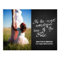 Chalkboard Wonderful Time Of The Year Script Photo Postcard
