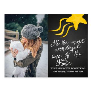 Chalkboard Wonderful Time Of The Year Star Photo Postcard