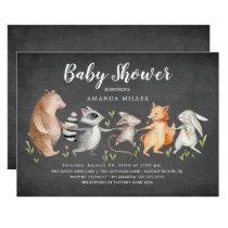 Chalkboard Woodland Animals Baby Shower Invitation