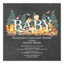 Chalkboard Woodland Neutral Baby Shower Invitation