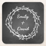"""Chalkboard Wreath Custom Paper Coasters<br><div class=""""desc"""">Chalkboard theme pulp board paper coasters,  with graphics of a white hand drawn looking vine wreath.  Personalize the white text to suit your needs.  Great for weddings and every day use.</div>"""