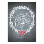 Chalkboard Wreath Red Ribbon Holiday Card