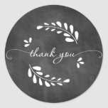 Chalkboard Wreath Thank You Sticker