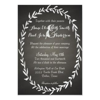 Chalkboard wreath wedding invitations