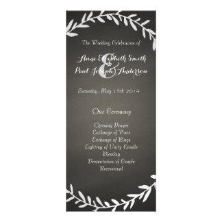 Chalkboard wreath wedding program rack card