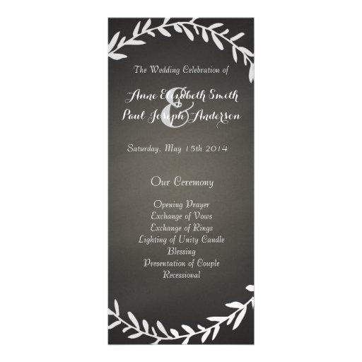 Chalkboard wreath wedding program rack card template