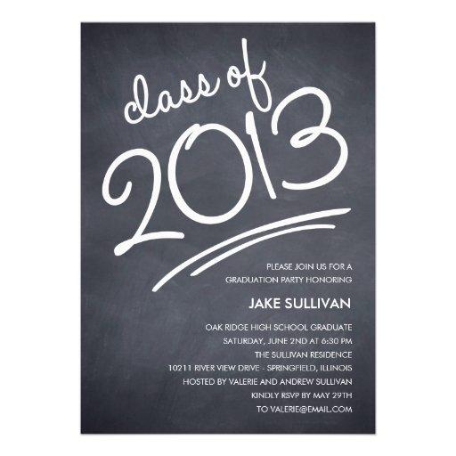 Chalkboard Writing Graduation Invitation