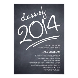 Chalkboard Writing Graduation Invitation Cards