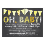 Chalkboard Yellow Bunting Banner Baby Shower 5x7 Paper Invitation Card
