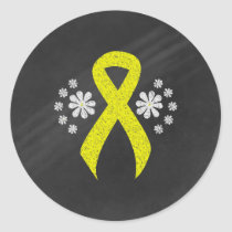Chalkboard Yellow Ribbon Classic Round Sticker