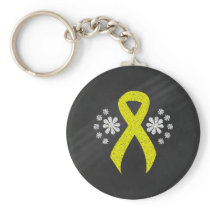 Chalkboard Yellow Ribbon Keychain