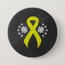 Chalkboard Yellow Ribbon Pinback Button