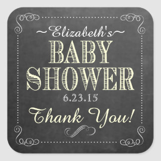 Chalkboard Yellow Vintage Typograpy Baby Shower Square Sticker