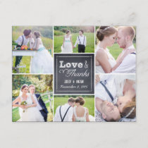 Chalked Collage Wedding Photo Thank You Card