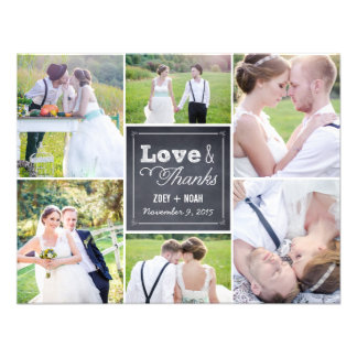 Chalked Collage Wedding Photo Thank You Card Invitations