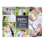 Chalked Collage Wedding Thank You Card Postcard