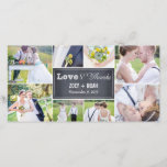 """Chalked Collage Wedding Thank You Photo Cards<br><div class=""""desc"""">Share your wedding photos as you send your thank you note with these modern and elegant photo cards that your friends and family will surely adore! Also available in other colors. You can also change the color yourself by clicking the &quot;Customize It&quot; button &gt;&gt; &quot;Edit&quot; &gt;&gt; &quot;Background Color&quot;, and then...</div>"""