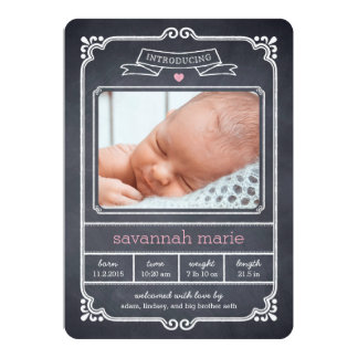 Chalked Frame Birth Announcement - Pink Personalized Announcements