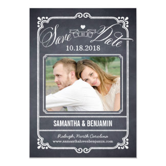 "Chalked Frame Save The Date Card 5"" X 7"" Invitation Card"