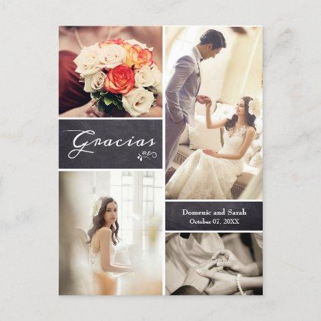 "Chalked Photo Collage Rustic Wedding ""Gracias"" Announcement Postcard"