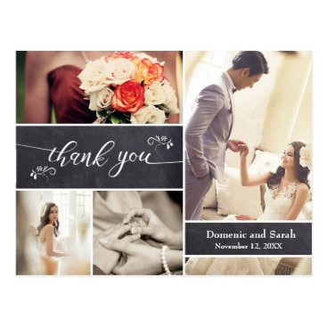 Beach Themed Chalked, Photo Collage Rustic Wedding Thank You Postcard