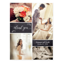 Chalked Photo Collage Rustic Wedding Thank You Postcard