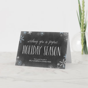 Business holiday cards zazzle chalked snowflakes business holiday greeting card m4hsunfo
