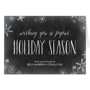 Professional christmas cards greeting photo cards zazzle chalked snowflakes business holiday greeting card m4hsunfo