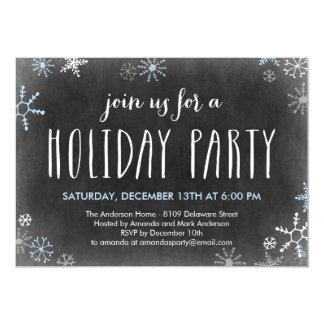 "Chalked Snowflakes Holiday Party Invitation 5"" X 7"" Invitation Card"